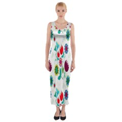Lindas Flores Colorful Flower Pattern Fitted Maxi Dress