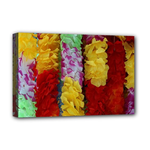 Colorful Hawaiian Lei Flowers Deluxe Canvas 18  x 12