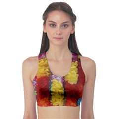 Colorful Hawaiian Lei Flowers Sports Bra