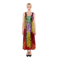 Colorful Hawaiian Lei Flowers Sleeveless Maxi Dress