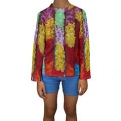 Colorful Hawaiian Lei Flowers Kids  Long Sleeve Swimwear