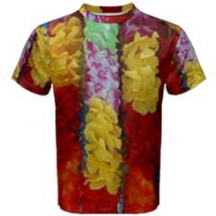 Colorful Hawaiian Lei Flowers Men s Cotton Tee