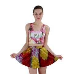 Colorful Hawaiian Lei Flowers Mini Skirt