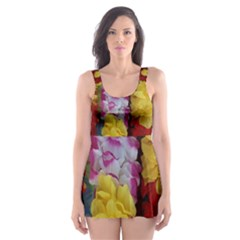 Colorful Hawaiian Lei Flowers Skater Dress Swimsuit