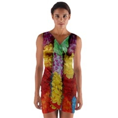 Colorful Hawaiian Lei Flowers Wrap Front Bodycon Dress