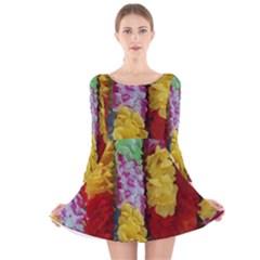Colorful Hawaiian Lei Flowers Long Sleeve Velvet Skater Dress
