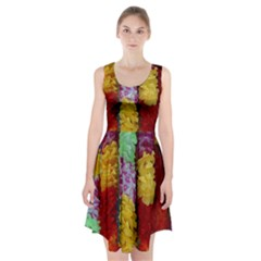 Colorful Hawaiian Lei Flowers Racerback Midi Dress