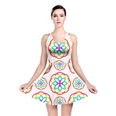 Geometric Circles Seamless Rainbow Colors Geometric Circles Seamless Pattern On White Background Reversible Skater Dress