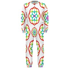 Geometric Circles Seamless Rainbow Colors Geometric Circles Seamless Pattern On White Background Onepiece Jumpsuit (men)