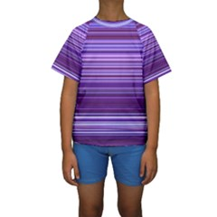 Stripe Colorful Background Kids  Short Sleeve Swimwear