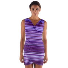 Stripe Colorful Background Wrap Front Bodycon Dress