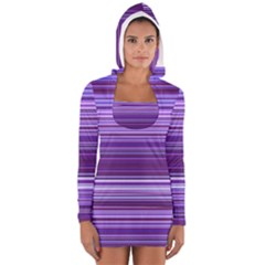 Stripe Colorful Background Women s Long Sleeve Hooded T Shirt