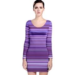 Stripe Colorful Background Long Sleeve Velvet Bodycon Dress