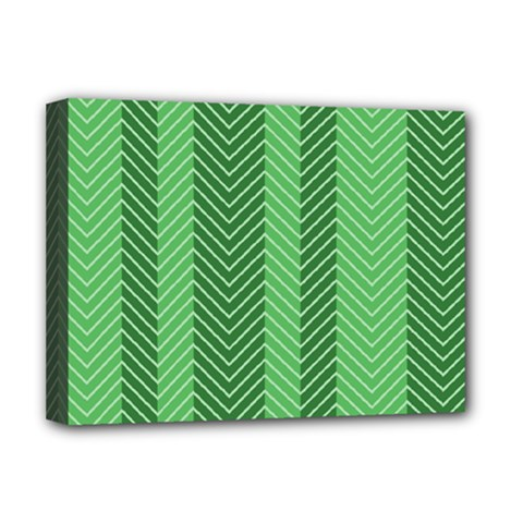 Green Herringbone Pattern Background Wallpaper Deluxe Canvas 16  X 12