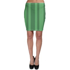 Green Herringbone Pattern Background Wallpaper Bodycon Skirt