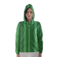 Green Herringbone Pattern Background Wallpaper Hooded Wind Breaker (women)