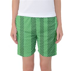 Green Herringbone Pattern Background Wallpaper Women s Basketball Shorts