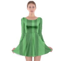 Green Herringbone Pattern Background Wallpaper Long Sleeve Skater Dress