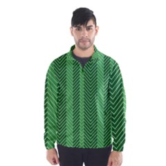 Green Herringbone Pattern Background Wallpaper Wind Breaker (men)