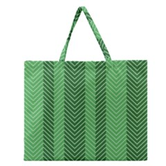 Green Herringbone Pattern Background Wallpaper Zipper Large Tote Bag