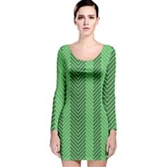 Green Herringbone Pattern Background Wallpaper Long Sleeve Velvet Bodycon Dress
