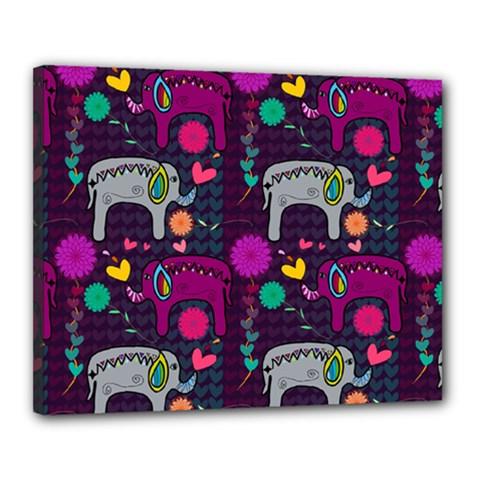 Colorful Elephants Love Background Canvas 20  X 16