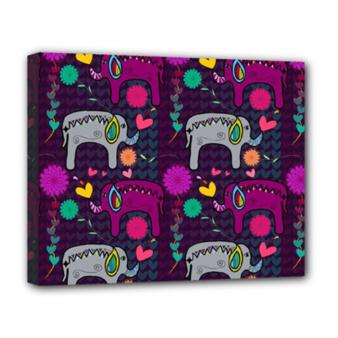 Colorful Elephants Love Background Deluxe Canvas 20  X 16