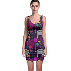 Colorful Elephants Love Background Sleeveless Bodycon Dress