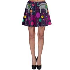 Colorful Elephants Love Background Skater Skirt