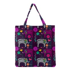 Colorful Elephants Love Background Grocery Tote Bag