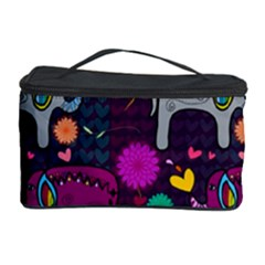 Colorful Elephants Love Background Cosmetic Storage Case