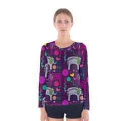 Colorful Elephants Love Background Women s Long Sleeve Tee