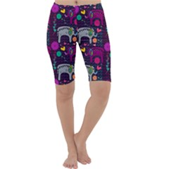 Colorful Elephants Love Background Cropped Leggings