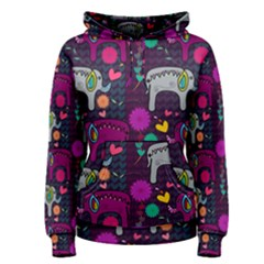 Colorful Elephants Love Background Women s Pullover Hoodie