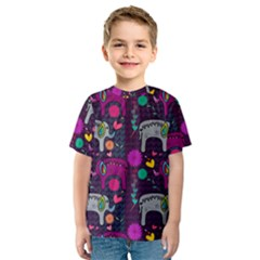 Colorful Elephants Love Background Kids  Sport Mesh Tee