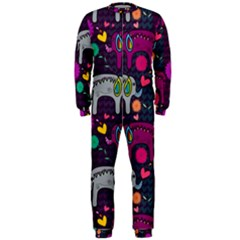 Colorful Elephants Love Background Onepiece Jumpsuit (men)