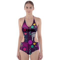 Colorful Elephants Love Background Cut-Out One Piece Swimsuit
