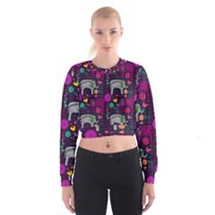 Colorful Elephants Love Background Women s Cropped Sweatshirt