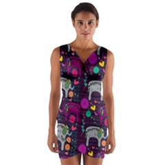 Colorful Elephants Love Background Wrap Front Bodycon Dress