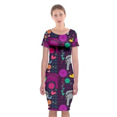 Colorful Elephants Love Background Classic Short Sleeve Midi Dress