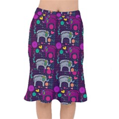 Colorful Elephants Love Background Mermaid Skirt