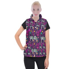 Colorful Elephants Love Background Women s Button Up Puffer Vest