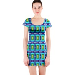 Seamless Background Wallpaper Pattern Short Sleeve Bodycon Dress