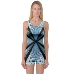 Dimension Metal Abstract Obtained Through Mirroring One Piece Boyleg Swimsuit