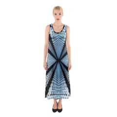 Dimension Metal Abstract Obtained Through Mirroring Sleeveless Maxi Dress