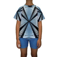 Dimension Metal Abstract Obtained Through Mirroring Kids  Short Sleeve Swimwear