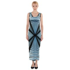 Dimension Metal Abstract Obtained Through Mirroring Fitted Maxi Dress