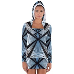 Dimension Metal Abstract Obtained Through Mirroring Women s Long Sleeve Hooded T-shirt
