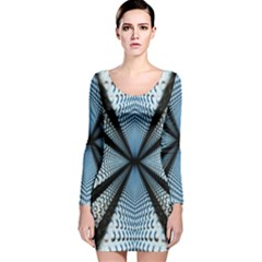 Dimension Metal Abstract Obtained Through Mirroring Long Sleeve Velvet Bodycon Dress