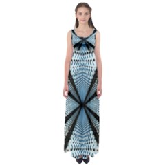 Dimension Metal Abstract Obtained Through Mirroring Empire Waist Maxi Dress